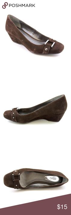 """Alfani """"Dextra"""" Step n flex wedge Women's ALFANI """"Dextra"""" Step n flex suede lwedge slip on shoes with a decorative buckle on the toes. They feature nice comfortable insoles and rubber grippy bottoms. Worn twice. Closed toe. 2.5"""" heel. Alfani Shoes Wedges"""
