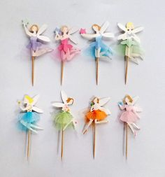 Yunko 48 Fairy Girls Dancers Fun Cupcake Decorative Toppers Cupcake Decorating Tools for Birthday Party ** Final call for this special discount  : Baking supplies