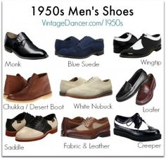 Common 1950s mens shoe styles: monk, blue suede, wingtip, chukka, nubuck, loafer, saddle, creeper and more. Find them at VintageDancer.com
