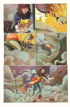 First Look at Ms. Marvel - The first issue of Ms. Marvel was pretty much universally hailed as great comic. Here's a first look at some unlettered pages along with. Ms Marvel Captain Marvel, Captain Marvel Carol Danvers, Marvel Comics, Ms Marvel Kamala Khan, Comic Layout, Anime Nerd, Comic Page, Ghost Rider, Comic Covers
