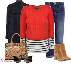 """""""stripes and print"""" by stacy-gustin ❤ liked on Polyvore"""