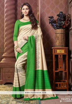 Monumental Green And Beige Color Thappa Silk Party Wear Saree