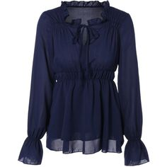Chiffon Front Tie Shirred Blouse (€11) ❤ liked on Polyvore featuring tops, blouses, gathered top, blue chiffon blouse, blue blouse, shirred top and blue top