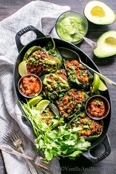 Fabulous for weekend or weeknight. Mealprep included! Roasted Stuffed Poblanos with Smoky Quinoa, Sweet Potatoes and Black Beans   Vegan + Gluten Free #Sponsored