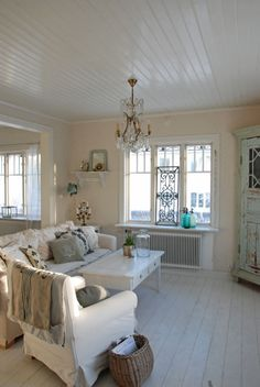 Living room Whitewashed Cottage chippy shabby chic french country rustic swedish decor idea. ***Pinned by oldattic ***.