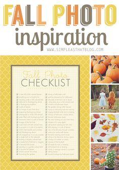 Fall Photo Inspiration + printable Fall Photo Checklist. #fall #photography