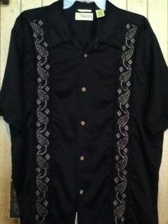 CUBAVERA Mens Black Button-Front Shirt Short Sleeve L Rayon/Polyester Embroided #Cubavera #ButtonFront Mens Black Shirt #ShortSleeve Large Rayon/Polyester Embroided #Cubavera #ButtonFront