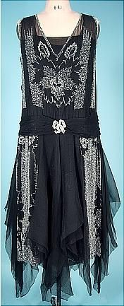 c. 1920's Art Deco Black Beaded Flapper Dress with Chiffon Scarves. Front (hva)