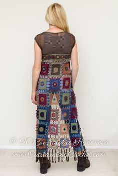 Crochet Cardigan PATTERN - Festival Hit - Long Maxi Fringed Vest - Crochet Motifs Multicolored Boho Chic Hippie Style - PDF Bohemian look is never complete without layering. Throw this light vest on your sun kissed shoulders, let fringe dance around your legs while you walk! *This