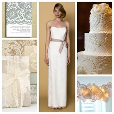 """Friday is FABULOUS with our love for lace! Our Alyne Bridal simple yet chic sheath """"Marissa"""" gown...why not use lace in your food and decor xo"""