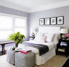 Stools eat end of bed instead of bench? Elle Decor - Monelle Totah - white & purple bedroom design with slip-covered white . Small Guest Rooms, Guest Bedrooms, Blue Bedrooms, Master Bedrooms, White Upholstered Headboard, Slipcovered Headboard, Headboard Decor, Slipcovers, Blue Gray Bedroom