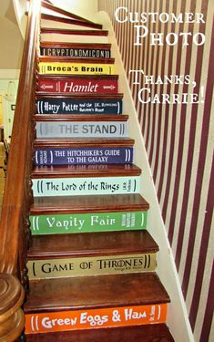 Two or More DIY Book Stairs Lettering by ThatMakesAStatement