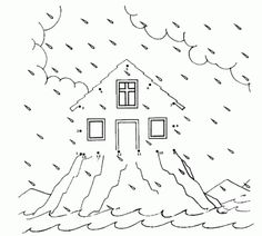 The Parable of the Wise and the Foolish Builders Coloring Picture