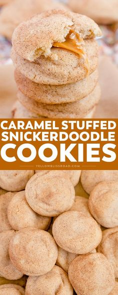 Caramel Stuffed Snickerdoodles take the classic sugary, cinnamony cookie to a whole other level. They are super soft with an ooey, gooey caramel surprise in the middle.