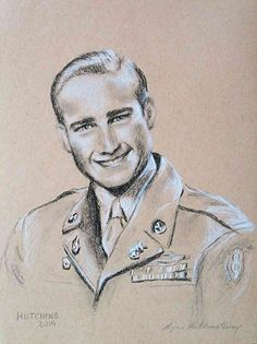 Charcoal Portrait Drawing of Young Man in Uniform, by Lynn Hutchins. Charcoal ~ 12 x 9. Sold. LynnHutchins.com #Art #FineArt #Drawing #Portrait