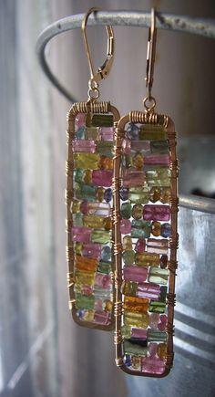 Tourmaline Earrings Stained Glass Earrings by dnajewelrydesigns