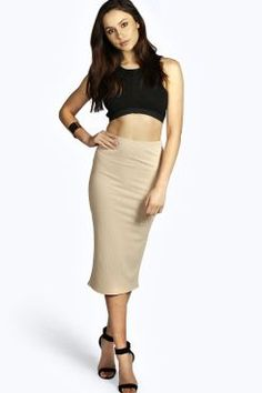 Tori Thick Rib Bodycon Midi Skirt at boohoo.com