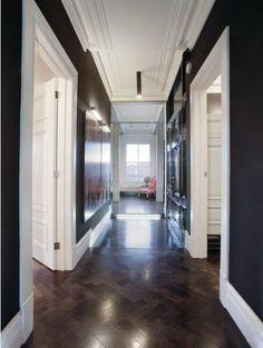 Black hallway and oversized art.  desire to inspire - desiretoinspire.net - Stalking Baroque 'nRoll