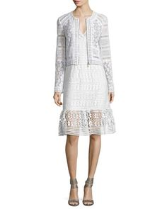 Arlette+Cropped+Lace+Zip-Front+Jacket+&+Tiana+Sleeveless+Lace+Flounce+Dress,+White+by+Diane+von+Furstenberg+at+Bergdorf+Goodman.