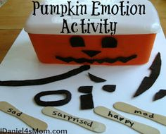 Pumpkin Emotions Game- developing vocabulary about emotion words activity