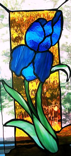 Blue Iris in Stained Glass (waterglass and opaque)