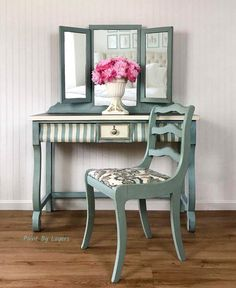 Vintage vanity with trifold mirror and chair painted in Annie Sloan Duck Egg Blue and Old White chalk paint. Green Furniture, Colorful Furniture, Find Furniture, Furniture Makeover, Furniture Decor, Small Dressing Table, Dressing Table Mirror, Refurbished Furniture, Vintage Furniture