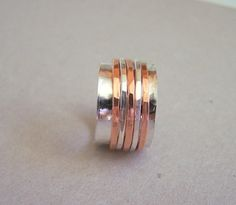 Sterling Copper Spinner Ring Fiddle Ring Silver by MoodiChic