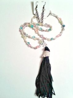 Light wheat color hemp cord with colored glass beads complete this classic, vintage-inspired black tassel necklace and bead earrings set. For pierced ears. Pandora Bracelets, Pandora Jewelry, Bead Earrings, Tassel Necklace, Vintage Accessories, Vintage Jewelry, Ear Piercings, Earring Set, Jewelry Sets