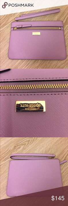 NWT Kate spade Tinie wristlet New with tags Kate spade Tinie wristlet. Color is lilac petal. Wallet is about 7.25 inches across and 4.75 inches tall. Inside the wallet there are 4 card slots and there is also an additional pocket on the outside of the wristlet. My iPhone 6 fits nicely inside. kate spade Bags Clutches & Wristlets