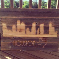 Reclaimed Rustic Houston Texas Skyline 28 x 20 x by ShopAtBear #ShopAtBear #Skyline #Houston #Texas #Wood #woodworking #reclaimedwood #mancave #wallart #HomeDecor #home #homemade #madeinamerica #madeintexas #Rustic #classroom #bbq #mancave