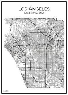 Los Angeles. California. USA. Map. City print. Print. Affisch. Tavla. Tryck. Stadskarta.