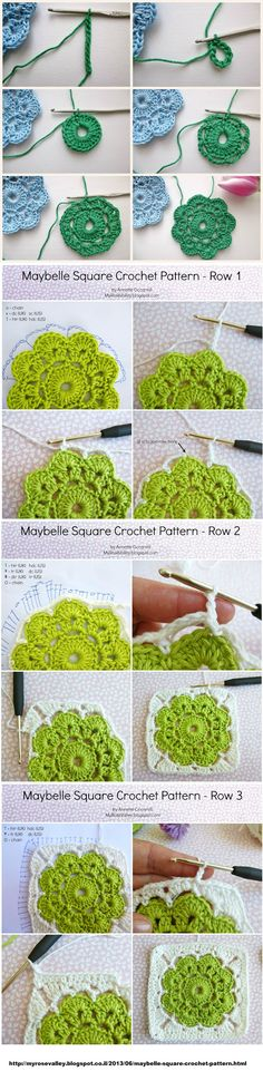 Crochet Flower in a Square - Tutorial ❥ 4U // hf