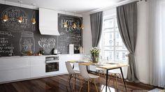 Blog wnętrzarski - design, nowoczesne projekty wnętrz: Przytulne mieszkanie - salon z aneksem kuchennym - propozycja aranżacji