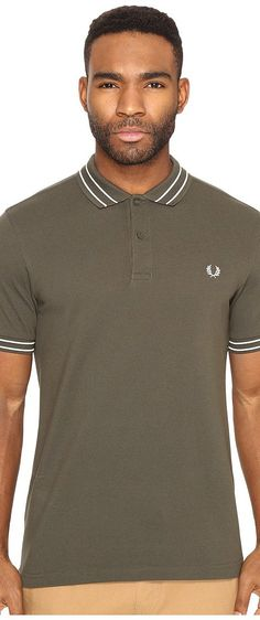 Fred Perry Tramline Tipped Pique Shirt (Dark Fern) Men's Clothing - Fred Perry, Tramline Tipped Pique Shirt, M1500-775, Apparel Top General, Top, Top, Apparel, Clothes Clothing, Gift - Outfit Ideas And Street Style 2017