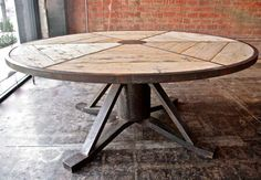 Industrial Italian Vintage Round Table | From a unique collection of antique and modern dining room tables at http://www.1stdibs.com/furniture/tables/dining-room-tables/