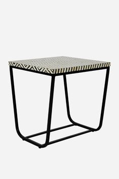 Bone Inlay Side Table - Square, Thin Zig Zag