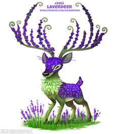 Daily Paint Lavendeer by Cryptid-Creations on DeviantArt Cute Fantasy Creatures, Cute Creatures, Mythical Creatures, Cute Animal Drawings, Kawaii Drawings, Cute Drawings, Wolf Drawings, Animal Puns, Animal Humor