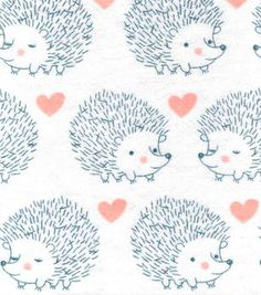 Snuggle Flannel Fabric-Hedgehog Love