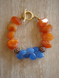 Orange and Blue Chalcedony Beaded Gemstone by DonnaCocciaCreations...but with sterling bali findings!
