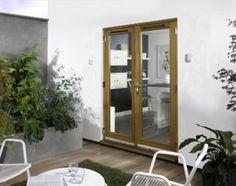 Canberra Oak Laminate French Doorset - Brickwork opening (H)2100 x (W)1200mm, CFD12X-SFF