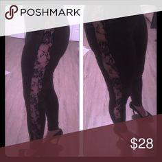 Black Leggings/Side Lace/Rose sheer decor Sexy black leggings with rose lace on the sides sheer. Pants Leggings