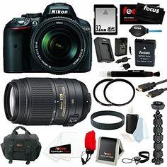 Nikon D5300 24.2 MP CMOS Digital SLR Camera with 18-140mm f/3.5-5.6G ED VR AF-S DX NIKKOR Zoom Lens (Black) + Nikon 55-300MM F4.5-5.6G ED VR AF-S DX Nikkor Zoom Lens + 32GB SDHC Secure Digital Memory Card + Accessory Kit