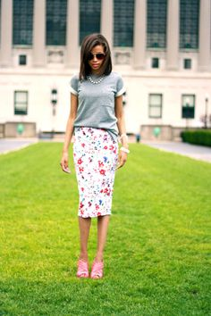 i like the look, but maybe stick to my black skirt and gray shirt. i'm not a floral gal.