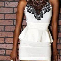 Shining White summer dress with black flowers design neck fashion