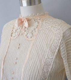 early 1900s blouse / antique Edwardian net and lace blouse / Under the Arbor