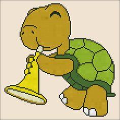 Evas Designs: Schildkröte mit Trompete  PDF Kreuz von EvasDesignsBg