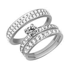 10K White Gold Finish Round Cut Diamond Accents Trio Engagement Wedding Ring Set #aonedesigns #EngagementWeddingValentine