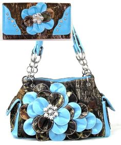 Western Blue Camouflage Flower Handbag W Matching Wallet HBM Hobo Bag, Purses And Handbags, Camouflage, Bling, Shoulder Bag, Wallet, Flower, Purple, Leather