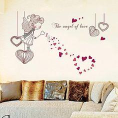 adesivos de parede decalques de parede, Love Angel parede pvc menina adesivos – BRL R$ 38,06