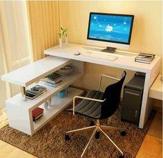 Bedroom Bed Design, Home Room Design, Home Office Design, Home Interior Design, Bedroom Decor, Cheap Corner Desk, Living Pequeños, Computer Desk Design, Minimalist Home Decor